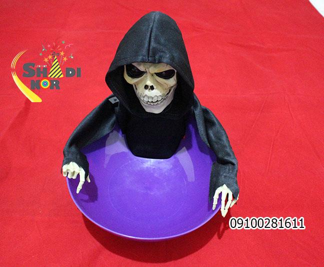 کاسه-اسکلت-گدا---کاسه-شکلات-شوخی-لوازم-خفن-باحال-برای-هالووین-و-مغازه-داران-اسکلت-گردن-کج