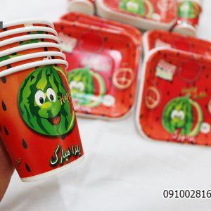 تم یلدا - ست بشقاب لیوان یلدا مبارک فروش عمده لوازم یلدایی قیمت پخش