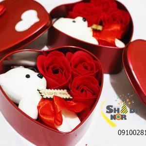 جعبه پکینگ خرید عمده خرس و گل ولنتاین گل و عروسک ولنتاین