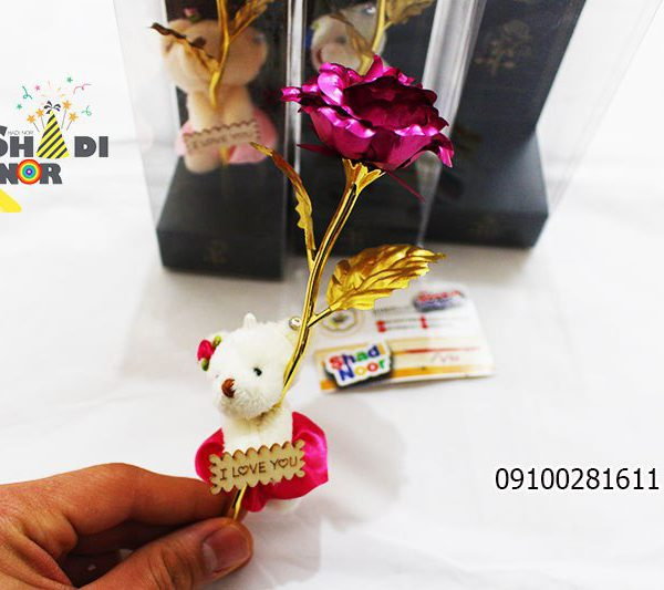 خرس و شاخه گل رز - فروش کلی جعبه کادویی و لوازم تزیینی